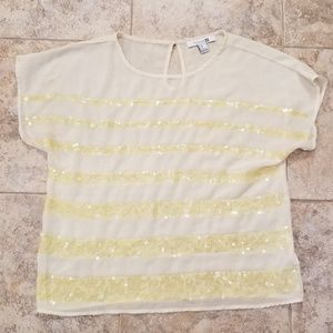 Forever21 Good Condition Yellow Sequin Sheer Shirt